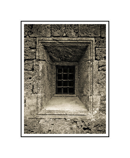 """Barred Window - Granada""<br /> <br /> Photograph: 8""x10.66"" archival gelatin silver print<br /> Frame: 16""x20"" white matte w/ black core, black metal frame"