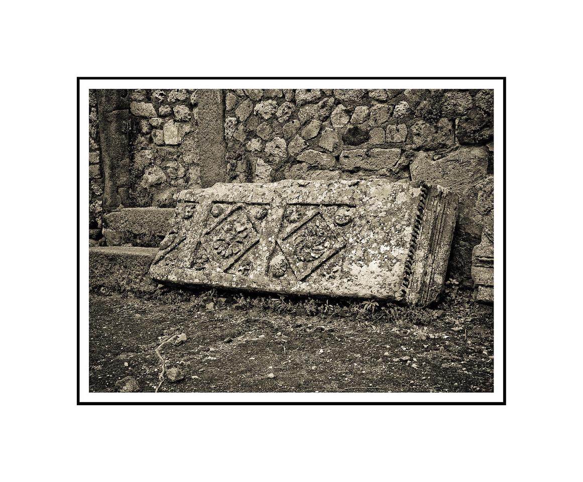 """Freize #1 - Pompeii""<br /> <br /> Photograph: 10.66""x8"" archival gelatin silver print<br /> Frame: 20""x16"" white matte w/ black core, black metal frame"