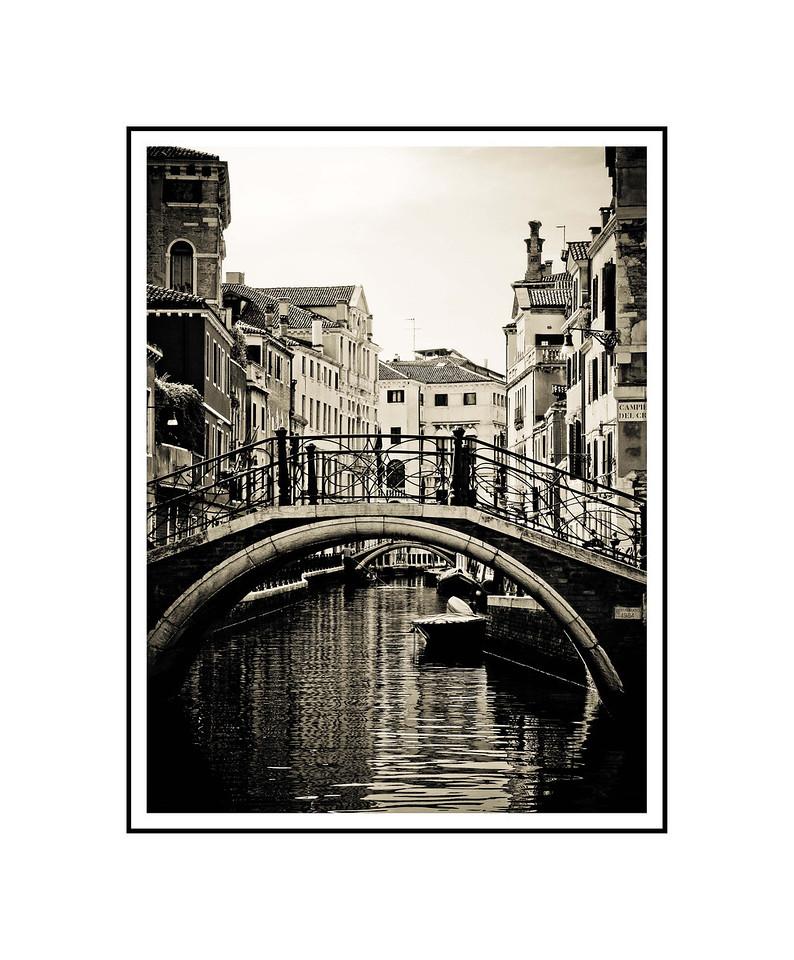 """Venice Canal #2""<br /> <br /> Photograph: 8""x10.66"" archival gelatin silver print<br /> Frame: 16""x20"" white matte w/ black core, black metal frame"