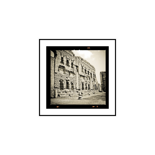 """Baths at Caracalla""<br /> <br /> Photograph: 2.5""x2.5"" archival gelatin silver print<br /> Frame: 10.5""x10.5"" white matte w/ black core, black metal frame"
