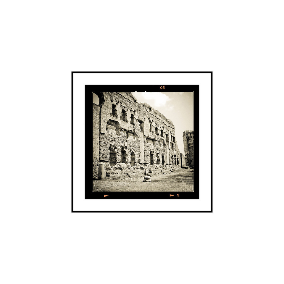 """Baths at Caracalla""<br /> <br /> Photograph: 2.5""x2.5"" archival gelatin silver print<br /> Frame: 10.5""x10.5"" white matte w/ black core, black metal frame"