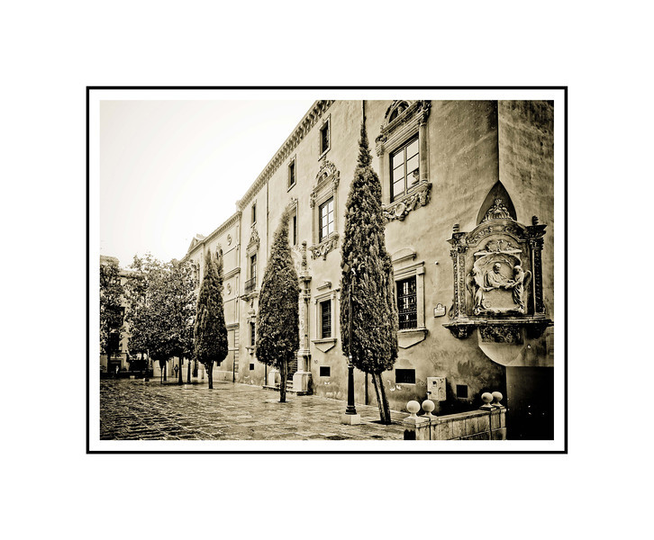 """Plaza de Alonzo Cano""<br /> <br /> Photograph: 10.66""x8"" archival gelatin silver print<br /> Frame: 20""x16"" white matte w/ black core, black metal frame"