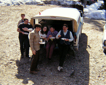 May Day BBQ, North Pole, AK, may 1, 1971  R-L _ wes plouff, bob leaply, jeff whalen, holly leaply, mike kelly, butch benton