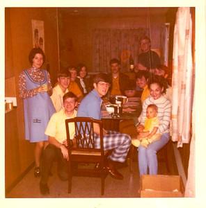 AF friends - Nov 1971, Thanksgiving, North Pole, AK  Ft-Lt, Cindy Pare, Joe Danko, Scott Meuller, Jan, Tom, Dick Morrel, Tom Collellela, Don Wood, Karen & Mark Mueller,  Ft - Jimmy Drake & Wally Walstrom
