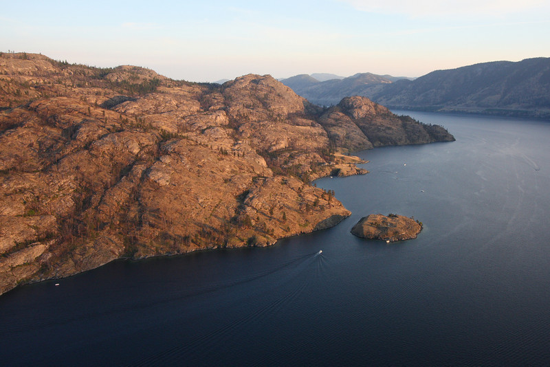 Okanagan Mountain Park from the air, including Rattlesnake Island