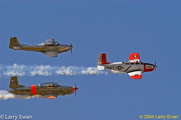 T-28 trainer and two Messerschmidt trainers