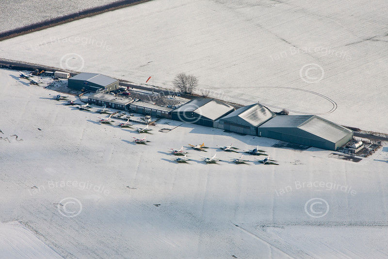 Aerial photo of Netherthorpe Airfield in the snow.