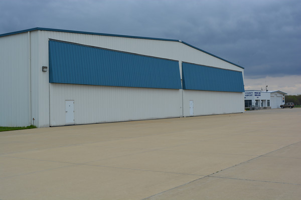This hangar at Effingham County Memorial Airport  is leased by Heartland Dental Care. The airport's new terminal is in the background.