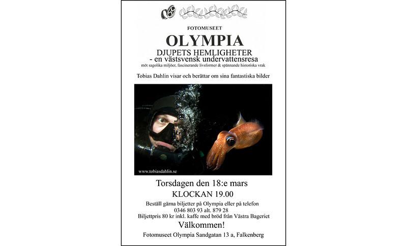 Föresläsning / Bildspel<br /> Torsdagen den 18:e mars 2010 visar och berättar Tobias kring bilder från den svenska västkusten på fotomuseet Olympia i Falkenberg. Föredraget börjar klockan 19.00. Biljettpris 80 kr, inklusive kaffe och fikabröd.