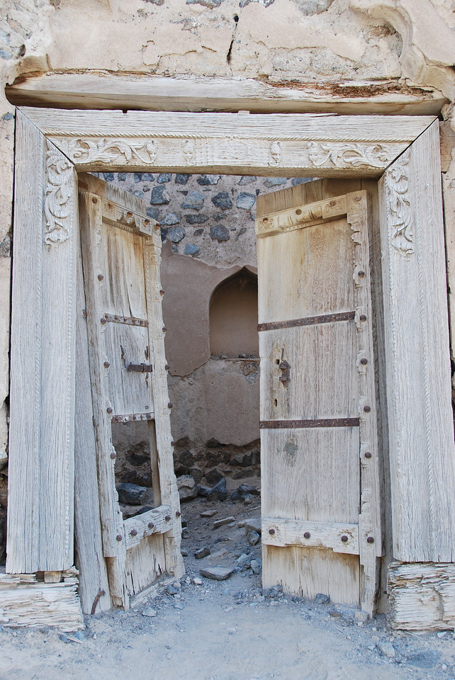 What were once magnificent doors at the entry to one of the houses.