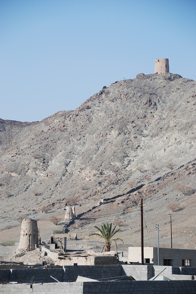 A row of watch towers that overlook Al Munisifeh.  You can see the remains of the wall that joined them.