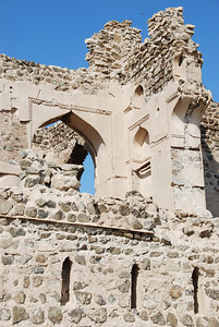 Some of the remaining plaster work on the upper storey of one of the houses.