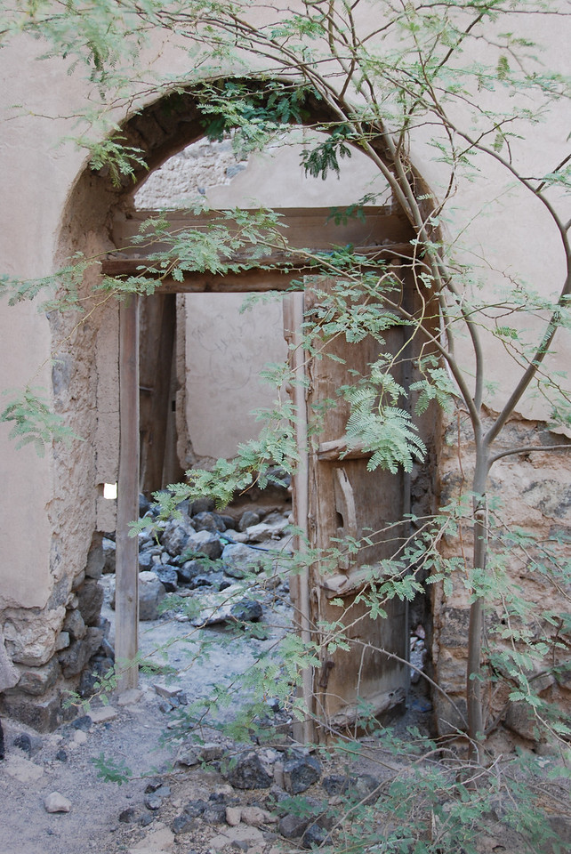 The entrance to one of the abandoned houses.