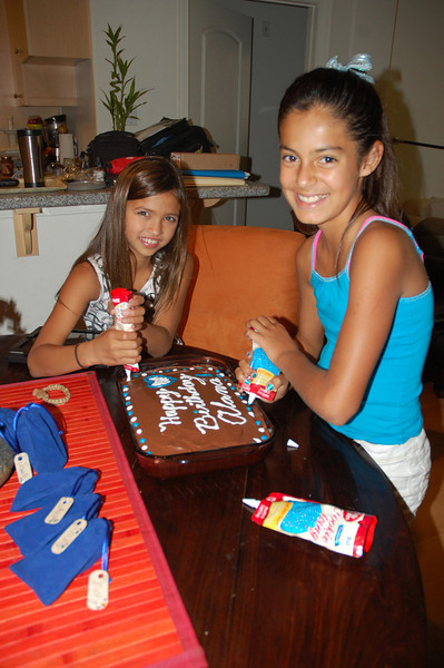 Alana and Gabby go to town decorating the cake.