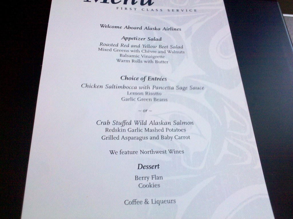 Transcon Dinner menu - AS 35 BOS-PDX 9/10/10