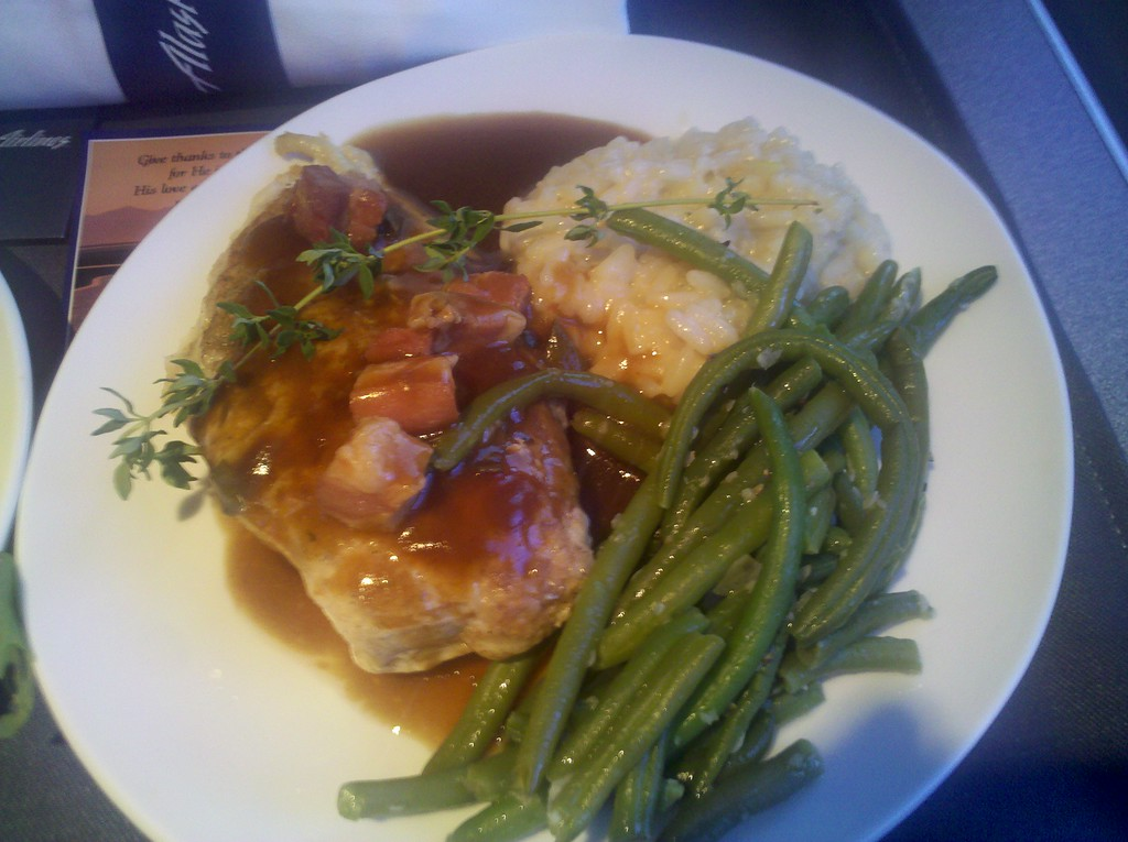 Chicken Saltimboca with pancetta sage sauce<br /> Lemon risotto<br /> Garlic green beans