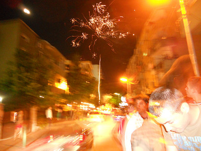 Tirana goes crazy - flares and fireworks in the street -  after Champions League final. Albania has massive German and Italian connections so the town was split 50/50.