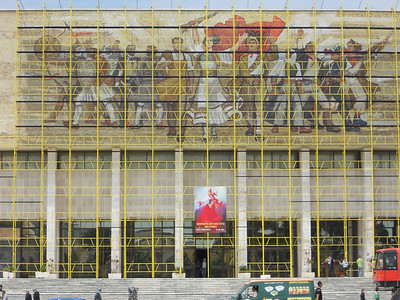 Under scaffolding but still impressive - classic Soviet tableau.