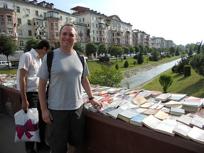 Open air book stall. We spot a book by Hoxha (cruel Albanian dictator) entitled 'Stalin and Me'. Sounds like a lovely read.