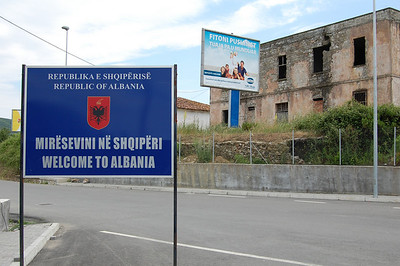 Our first building in Albania - not a good omen at this early stage!
