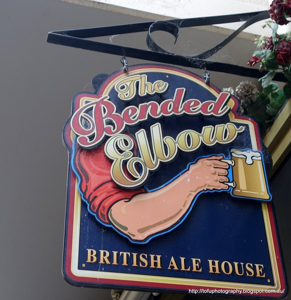 The Bended Elbow: British Ale House pub sign in Albury, NSW in October 2017
