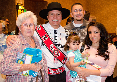 Gloria Hodgin and Jesse, Allie and Jasmine Cordova are pictured with Assistant Chief Batton at the cultural meeting in Albuquerque.