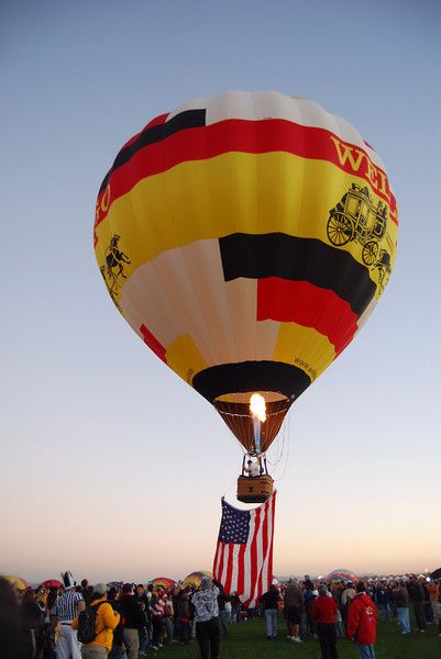 Up, up and away for the Wells Fargo balloon.