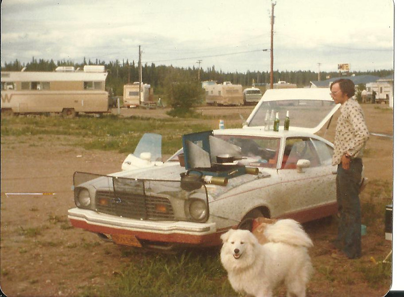 Camping in Fort Nelson......our first night on the Alcan. I was a bit thinner back then!!!