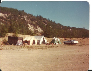 "Our campsite at Gold Hill in Fairbanks for the summer of '78. We shared the ""cook tent"" in the center with another couple."