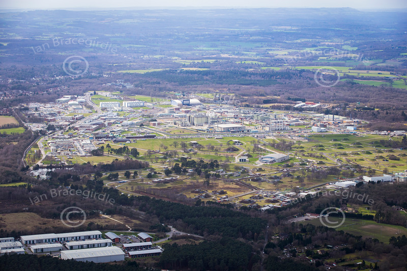 Aerial photo of Aldermaston Atomic Weapons Establishment.