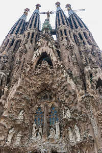 Sagrada Familia, Barcelona Spain.  This is the back of the church. Original facade, depicts different events of the Bible carved in stone.