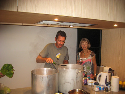 Friday night dinner - twenty people at the beach house for pasta and salad