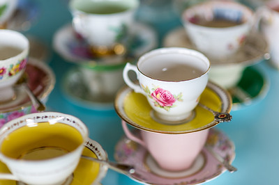 Vintage china added some pretty colour to tea. coffee and dessert