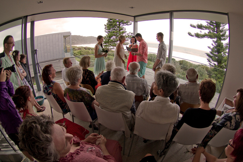"""Ceremony, overlooking Boomerang Beach - Photo by Dave Sparkes  <a href=""""http://www.sparkesphoto.com"""">http://www.sparkesphoto.com</a>"""