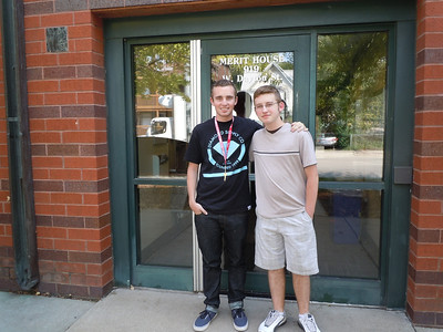 Jerrod and Alex in front of his new dorm