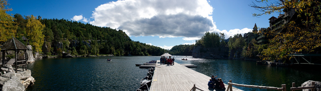 A Panorama taken from the pier on Mohonk Lake near the hotel in New Palz, NY