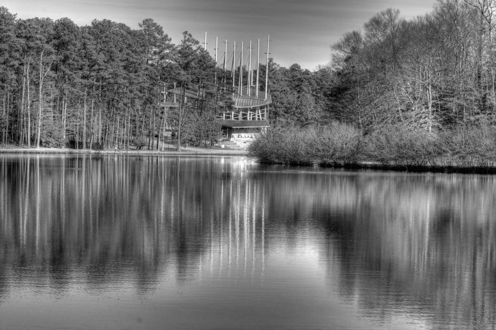 Took this in Cary, NC of a music venue across the lake.