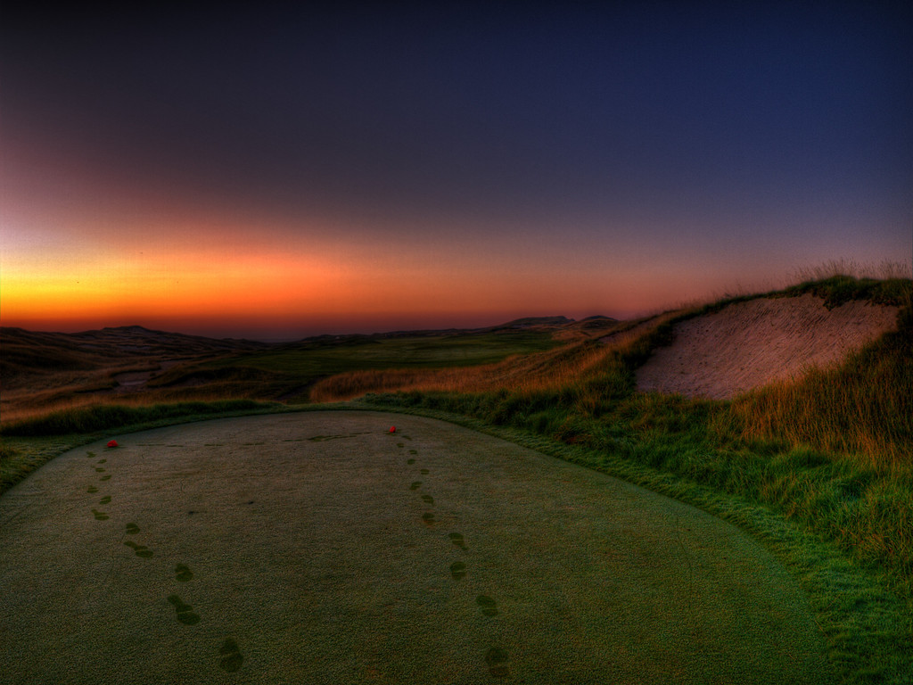 An HDR of my photo of hole #1 to bring out the sky a little more.  This was taken really early in the morning.