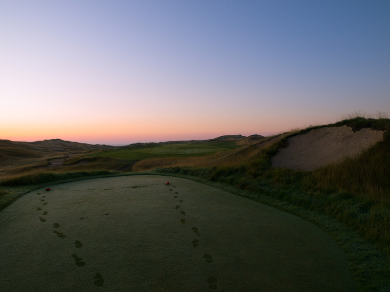 How nice is it to be the 2nd person at Hole #1 at Whistling Straits...when the 1st was putting in the tee boxes.