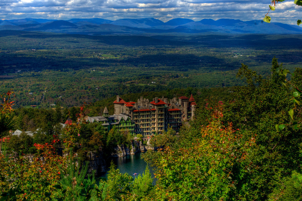 A view from the top of the mountain down to the Mohonk Hotel.  A beautiful place to visit.
