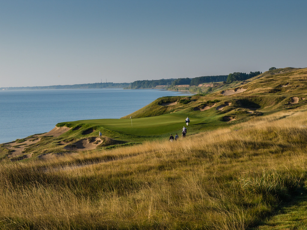 Loved this view of a foursome walking up to the green at Whistling Straits.