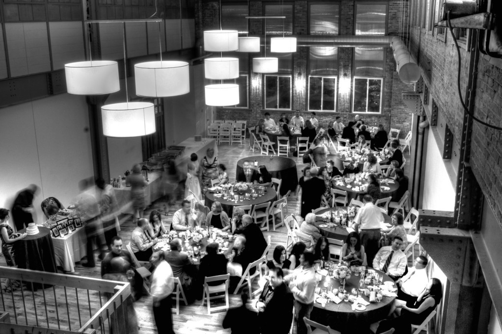 Took some time to get this photo of a wedding reception taken from the balcony.