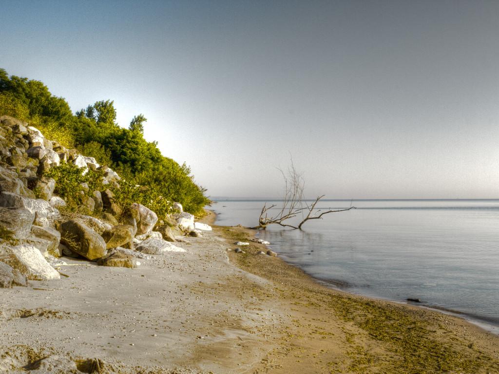 Kind of a barren beach along Whistling Straits along Lake Michigan.