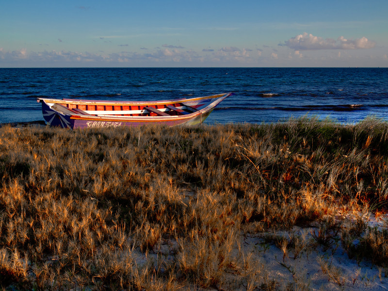 Saw this abandoned boat on a beach near our hotel in Playa del Carmen, Mexico