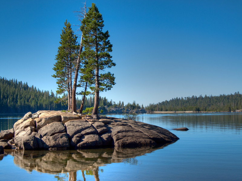 Took this in Northern California...just a couple of pint trees on a rock island in the lake