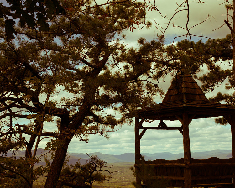 Old School gazebo with the mountains in the background