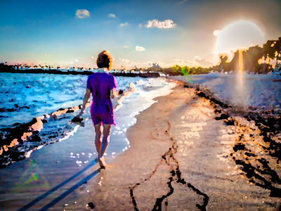 This is a stylized (mix of a few painted effects) of my wife walking along the beach at sunset in Playa del Carmen