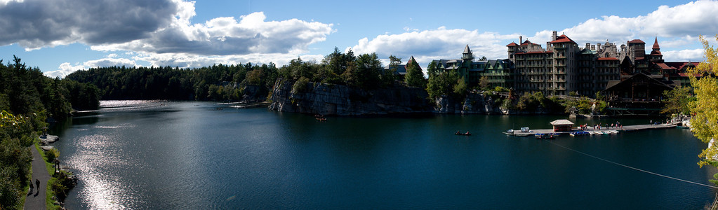This is a Panorama of 3 photos at the Mohonk Hotel (on the right).