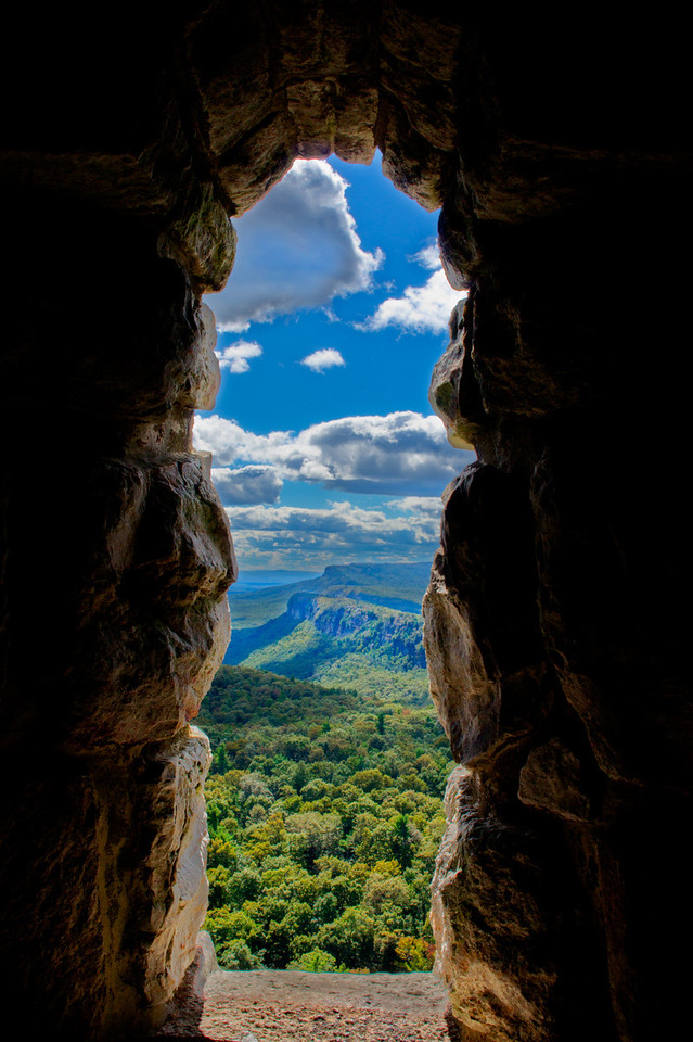 A stone window framed the cliffs near Mohonk