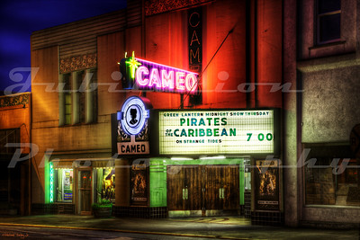 "The Cameo Theatre, Newburg, OR.  Opened in 1937.  The neon ""Cameo"" sign that comes away from the building was obviously added later."